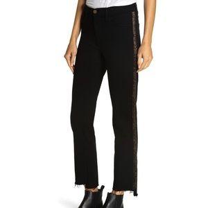 NWT FRAME Le High Straight Glitter Tuxedo Jean